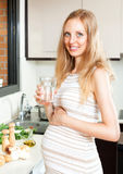 Pregnant woman drinking water Stock Photography