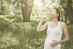 Pregnant woman drinking water after exercise. Royalty Free Stock Photos