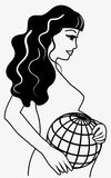 Pregnant woman with earth Royalty Free Stock Images