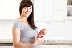 Pregnant Woman Eating Healthy Meal Royalty Free Stock Photography