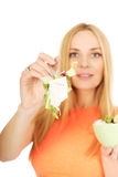 Pregnant woman eating a salad Stock Photo
