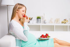 Pregnant woman eating strawberries. Pregnant woman at home  eating strawberries Stock Image