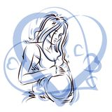 Pregnant woman elegant body silhouette placed in decorative hear. T shape frame, sketchy vector illustration. Love and gentle feeling concept Royalty Free Stock Photos