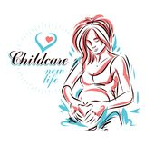 Pregnant woman elegant body silhouette, sketchy vector illustrat. Ion. Prenatal center and motherhood preparing clinic promotion flyer Stock Photos