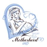 Pregnant woman elegant body silhouette, sketchy vector illustration. Medical rehabilitation and childcare center marketing card royalty free illustration