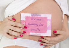 Pregnant woman embracing her belly Royalty Free Stock Images