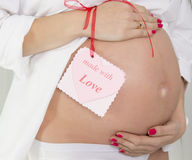 Pregnant woman embracing her belly Royalty Free Stock Photos