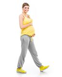 Pregnant woman engaged in fitness Stock Photography