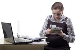 Pregnant woman with euro currency stock image