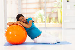 Pregnant woman exercise Stock Images