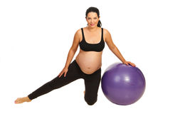 Pregnant woman exercise with ball Royalty Free Stock Images