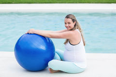 Pregnant woman with exercise ball Stock Photography