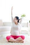 Pregnant woman exercise royalty free stock photo