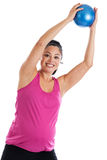 Pregnant woman exercising with ball Royalty Free Stock Photo