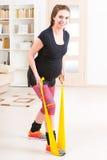 Pregnant woman exercising at home Royalty Free Stock Photos