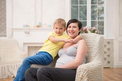 Pregnant woman expecting her baby Stock Photo