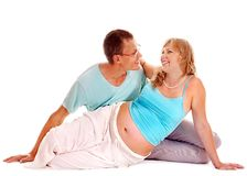 Pregnant woman with family . Stock Photos