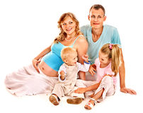 Pregnant woman with family. Royalty Free Stock Photography