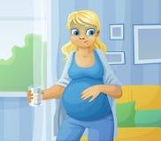 Pregnant woman feel sick royalty free illustration