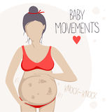 Pregnant woman feels the baby moving inside. Pregnant woman in the second trimester. She feels the baby moving inside. Vector illustration Royalty Free Stock Images