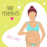 Pregnant woman feels the baby moving inside. Pregnant woman in the second trimester. She feels the baby moving inside. Vector illustration Stock Images