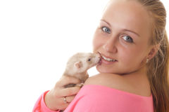 Pregnant woman with ferret. Royalty Free Stock Photo