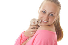 Pregnant woman with ferret. Royalty Free Stock Photography