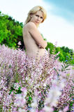 Pregnant woman in field stock image