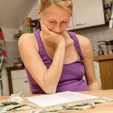 Pregnant woman with financial problems Royalty Free Stock Photography