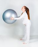 Pregnant woman with fit ball Royalty Free Stock Image