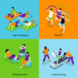 Pregnant Woman Fitness Concept Icons Set Royalty Free Stock Photography