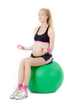 Pregnant Woman Fitness. Bicep Curl Exercise Stock Photography