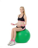 Pregnant Woman Fitness. Bicep Curl Exercise Stock Photos