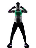 Pregnant woman fitness exercises silhouette Royalty Free Stock Images