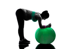 Pregnant woman fitness exercises silhouette Stock Photography
