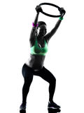 Pregnant woman fitness exercises silhouette Royalty Free Stock Photography
