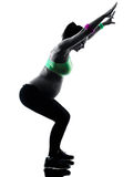Pregnant woman fitness exercises silhouette Stock Photo