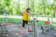 Pregnant Woman Fitness Outdoors Park Royalty Free Stock Images