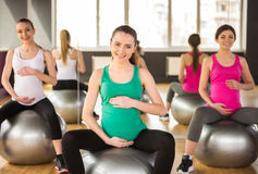 Pregnant woman. Fitness. royalty free stock photos
