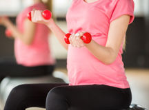 Pregnant woman. Fitness. Royalty Free Stock Image