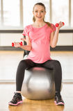 Pregnant woman. Fitness. Royalty Free Stock Photo