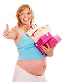 Pregnant woman with flower. Royalty Free Stock Photography