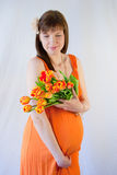 Pregnant woman flower Royalty Free Stock Image