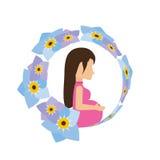 pregnant woman flower decoration Royalty Free Stock Photos
