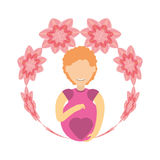pregnant woman flower decoration Royalty Free Stock Photo