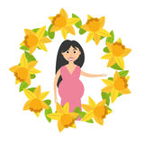 pregnant woman flower frame decoration Stock Images