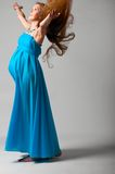 Pregnant woman with flying dress Royalty Free Stock Photo