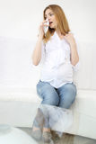 Pregnant woman found face mask Stock Images