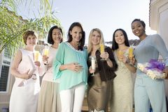 Pregnant Woman And Friends At A Baby Shower Stock Photography