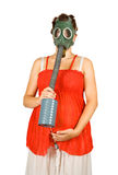 Pregnant woman in  gas-mask holding  belly Royalty Free Stock Images